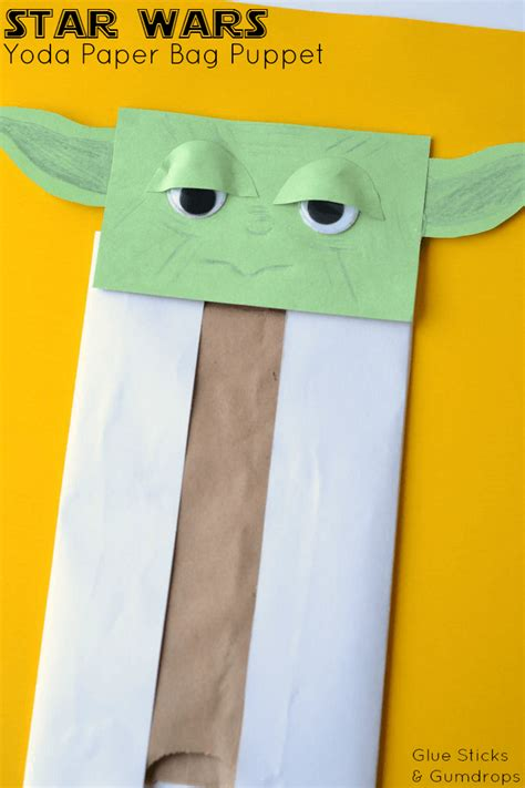 paper bag arts and crafts for yoda paper bag puppet glue sticks and gumdrops