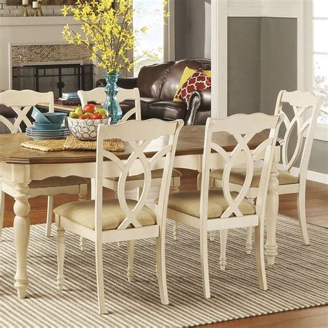 tribecca home dining chairs tribecca home shayne country antique white beige side