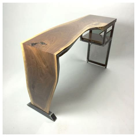 modern industrial desk handmade live edge waterfall desk modern industrial steel