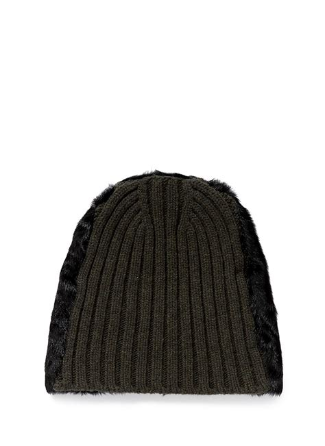 wool knit marni goat fur wool knit beanie in green for lyst