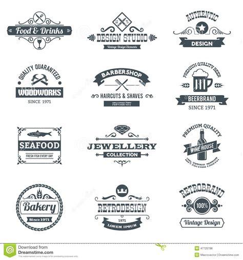 woodworks company retro logo set stock vector image 47720788