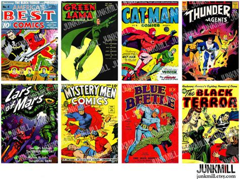 comic book pictures superheroes digital printable collage sheet retro comic book