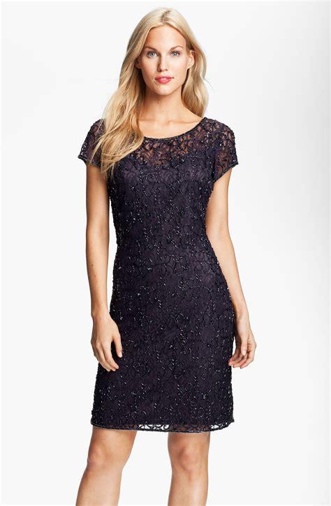 pisarro beaded dress pisarro nights beaded lace sheath dress in gray slate lyst