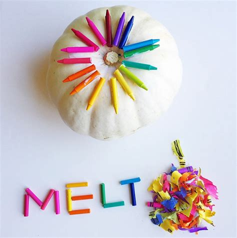 pumpkin craft for melted crayon pumpkin decorating idea crafty morning