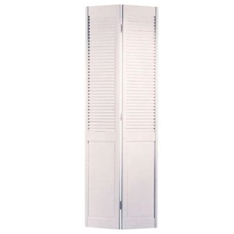 bifold closet doors home depot masonite smooth half louver primed pine interior closet bi