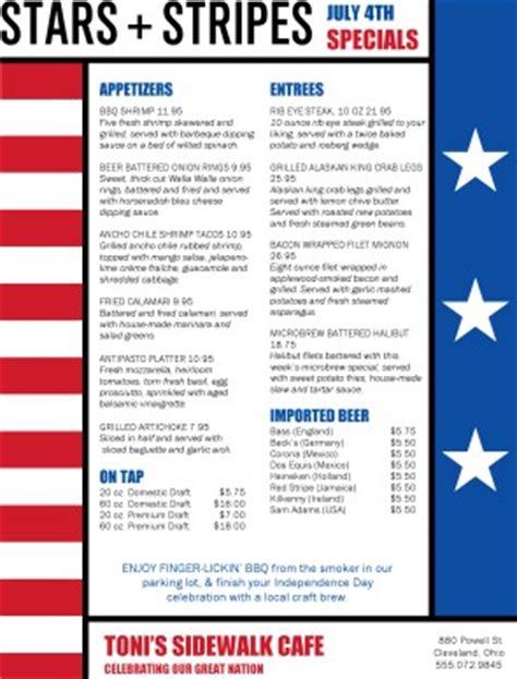 stars and stripes 4th of july menu 4th of july menus