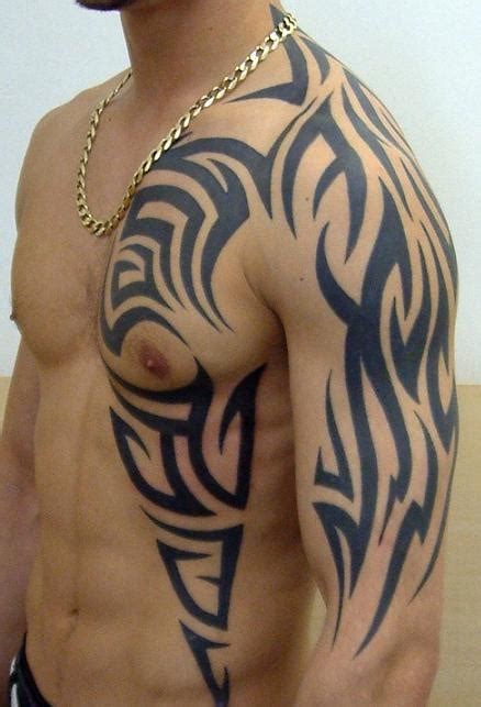 men tribal chest tattoo designs