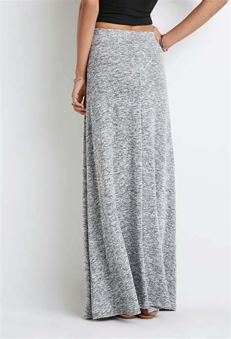 knit maxi skirts forever 21 marled knit maxi skirt in gray lyst