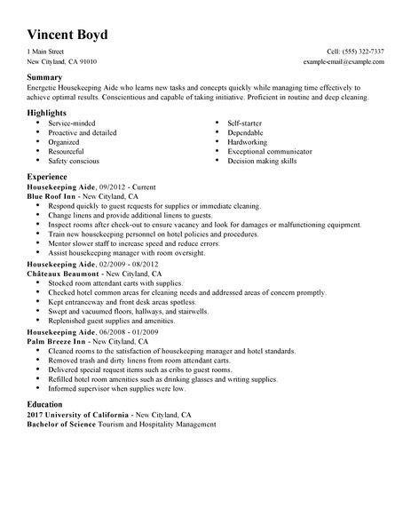 best housekeeping aide resume example livecareer