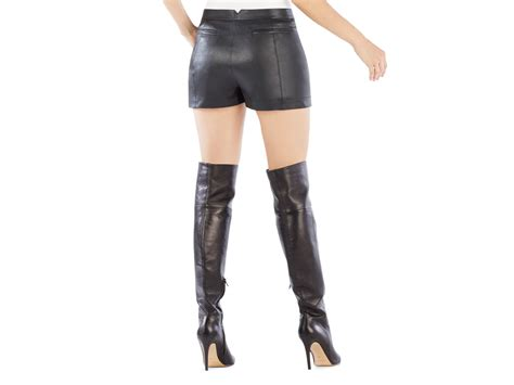 leather shorts bcbgmaxazria yazzy high waist faux leather shorts in black lyst