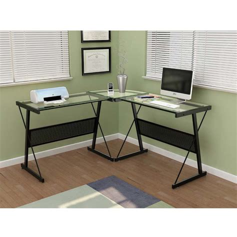 z line glass computer desk z line glass computer desk z line belaire glass l shaped