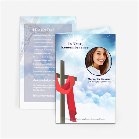 how to make funeral cards cross in clouds funeral card funeral phlets