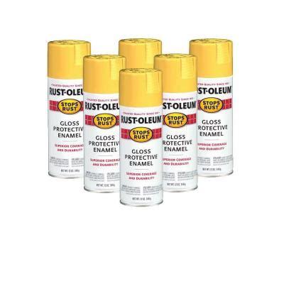 home depot spray paint yellow rust oleum stops rust 12 oz gloss sunburst yellow spray