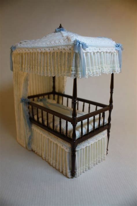 miniature crib bedding dollhouse miniature dressed bespaq canopy bed matching