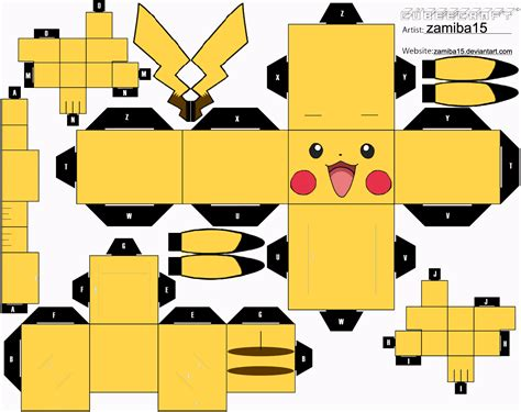 paper craft pikachu cubeecraft by zamiba15 on deviantart