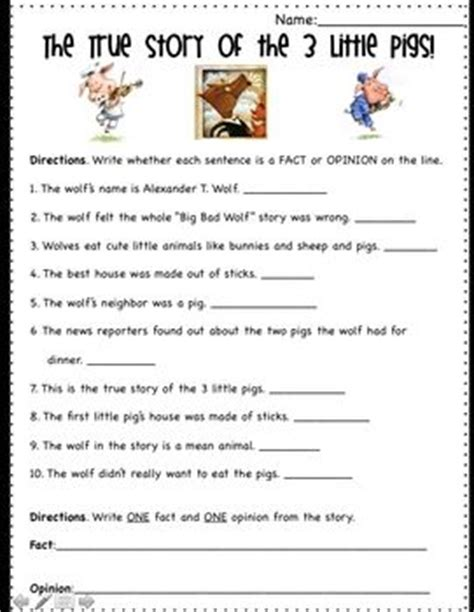 picture books to teach fact and opinion fact and opinion worksheets for and pigs