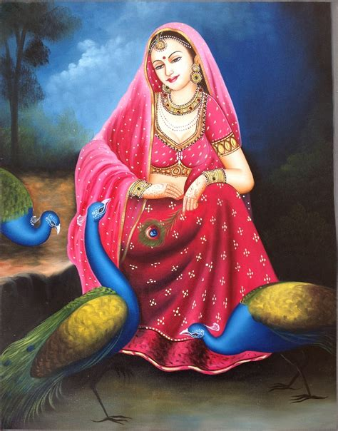 indian painting rajasthani handmade indian nayika damsel embossed