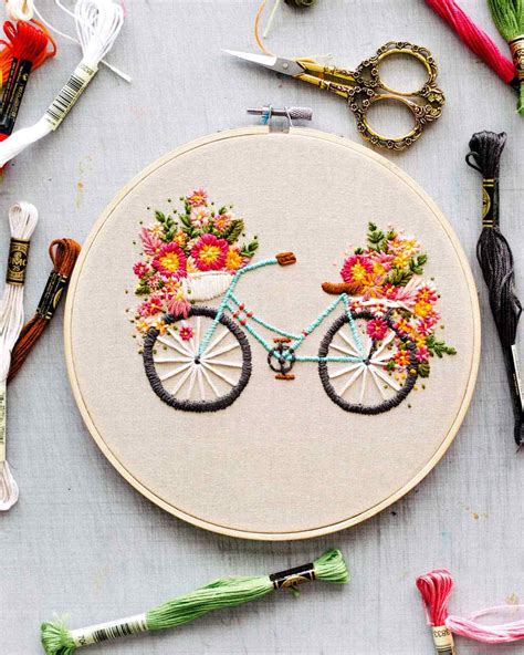 embroidery flores embroidered bicycle with basket of flowers martha stewart