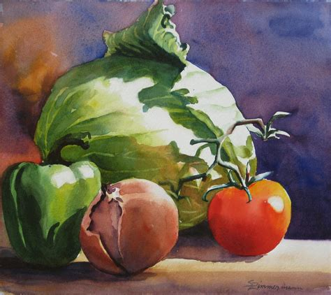 acrylic painting vegetables fresh vegetables by sue zimmermann
