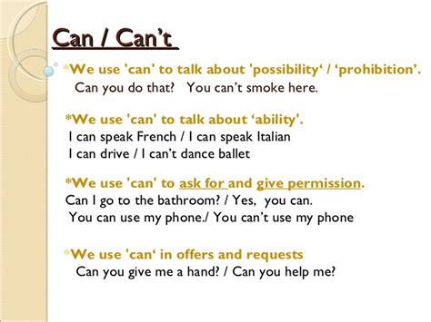 can use can can t general