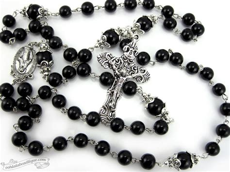 black rosary for black rosary necklace miraculous medal mens rosary catholic