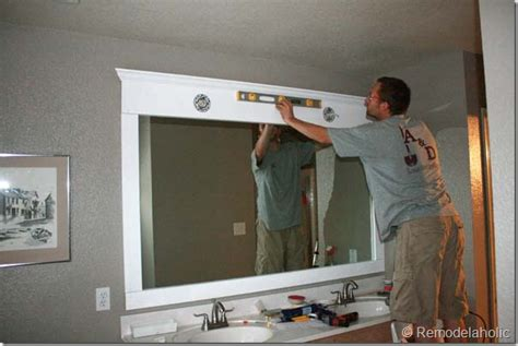 frames for large bathroom mirrors remodelaholic framing a large bathroom mirror