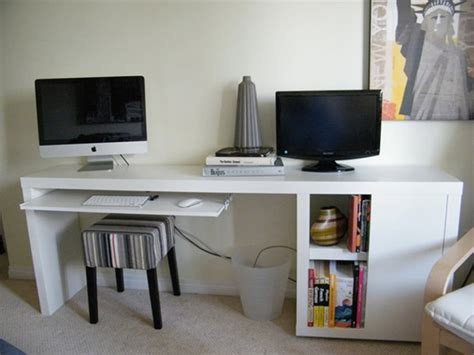 narrow white desk a narrow diy desk with slim storage ikea hackers