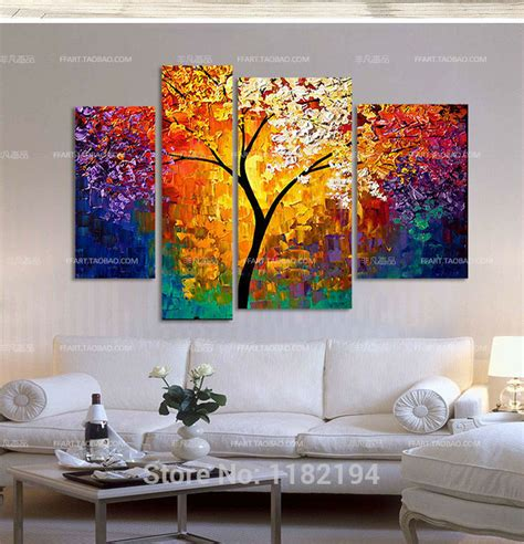 acrylic painting ideas for living room 4 pcs sets handpainted painting wall modern home