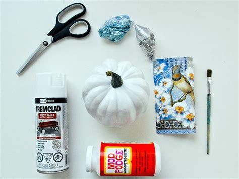materials needed for decoupage funky decoupage pumpkin hgtv