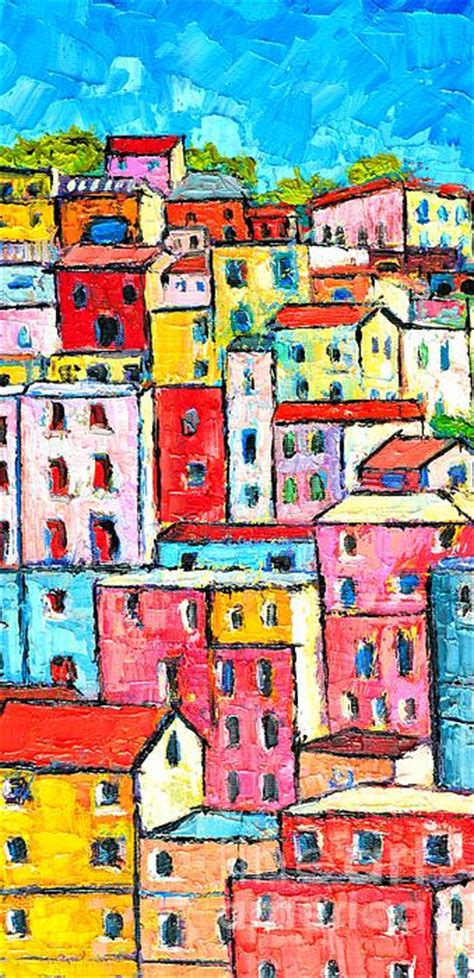colorfu houses painting manarola colorful houses painting detail by edulescu