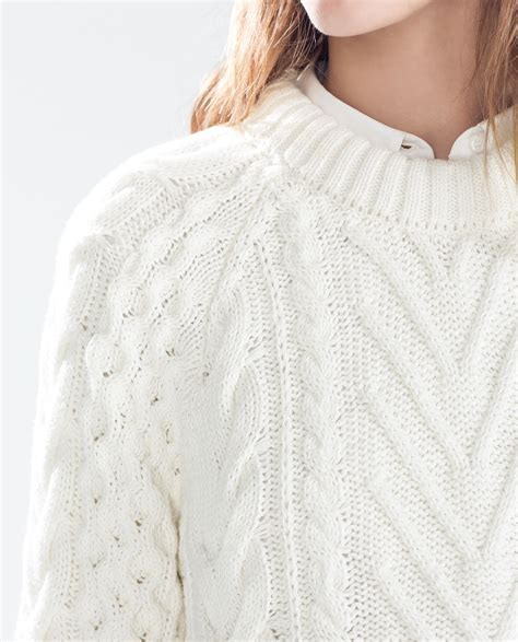 white knit zara cable knit sweater with opening in white lyst