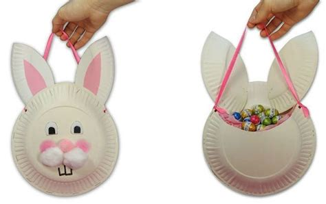 paper plate bunny craft paper plate bunny basket rabbits easter