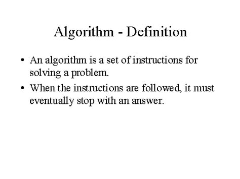 the definition of algorithm definition