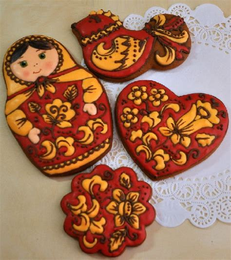 traditional crafts for an set of gingerbread painted in the style of