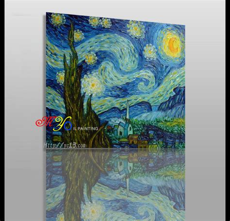 paint nite canvas size vangao starry knife painting on canvas home