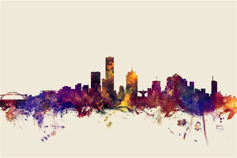united states usa city skyline watercolour watercolor