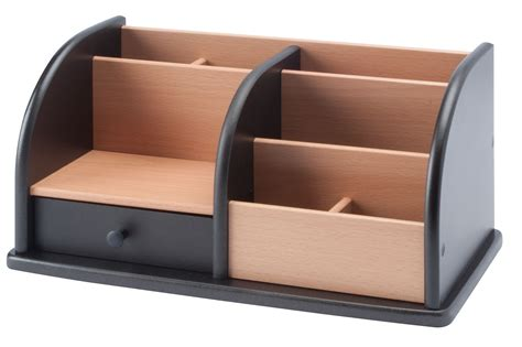 wood desk organizer with drawers whitevan
