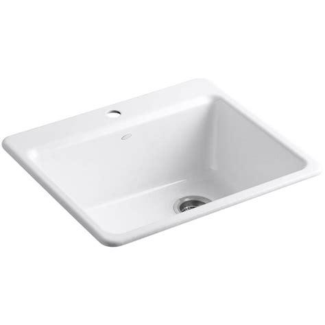 kitchen sink basin racks kohler riverby drop in cast iron 25 in 1 single