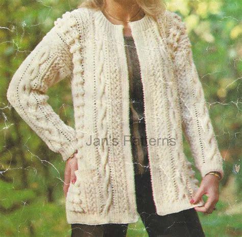 Line Aran Jacket Cardigan Knitting By