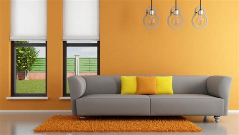 orange walls interior rendering orange walls gray 3d house