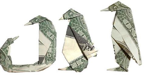 dollar bill origami penguin folding money the of origami meets dollar bills ii