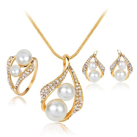 jewelry on 2016 charming jewelry simulated pearl necklace ring