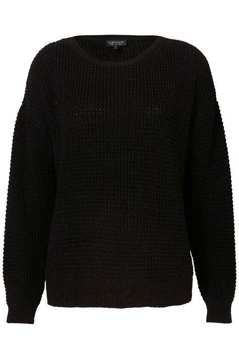 knitted jumper topshop knitted textured grunge jumper in black lyst