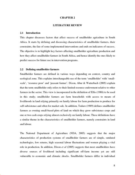 example of literature review layout