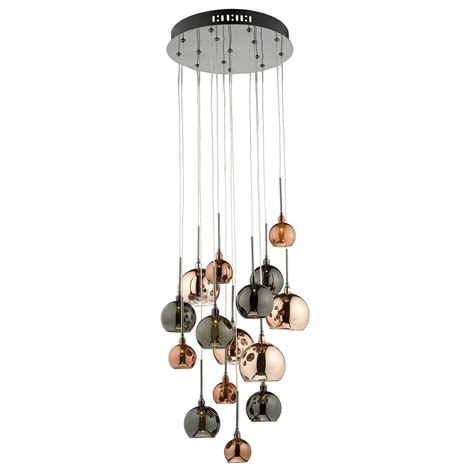 chandelier light fittings 15lt g4 spiral with copper copper and bronze glass15