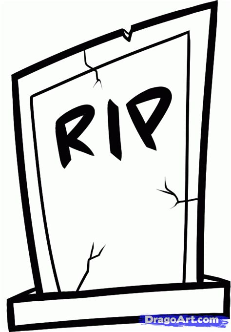 draw a how to draw a gravestone step by step