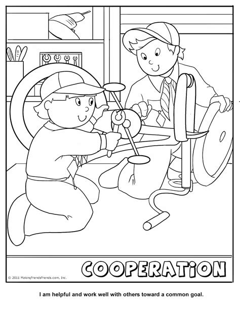 cub scout cooperation coloring page