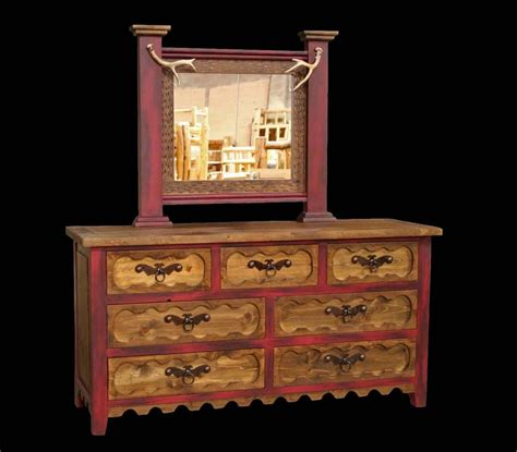 wood bedroom dresser western rustic 7 drawer dresser with mirror cabin log