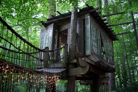 treehouse house secluded treehouse compound atlanta adventure