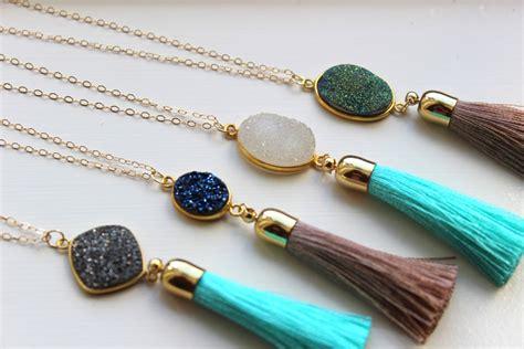 tassels for jewelry gold tassel necklace druzy necklace fringe necklace tassel